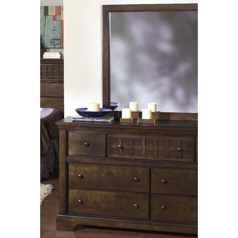 Progressive Furniture Casual Traditions Drawer Dresser and Mirror in Walnut