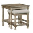 Progressive Furniture Chastain Park Nesting End Table with Upholstered Bench in Weathered Linen (T529-06)