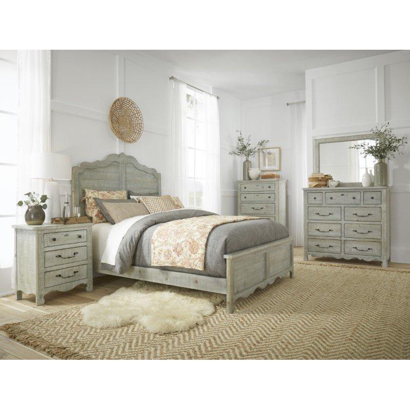 Progressive Furniture Chatsworth Complete Full Panel Bed in Mint (B644-32/33/27)