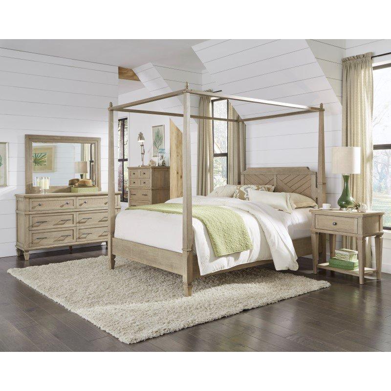Progressive Furniture Coronado Complete King Canopy Bed in Flax (B131-80/82/78)