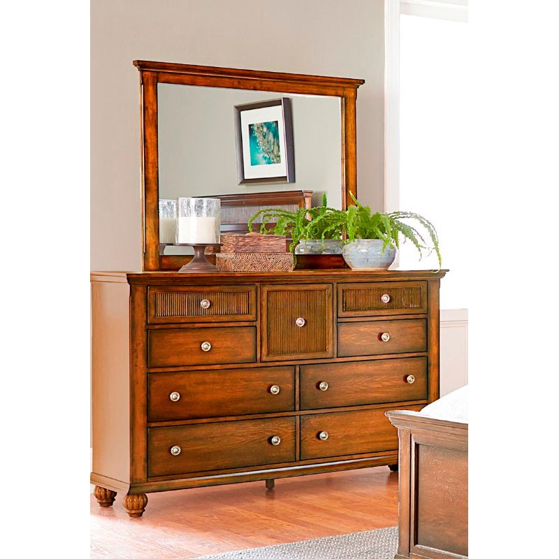 Progressive Furniture Cotswold Grove Drawer Dresser and Mirror in Root Beer