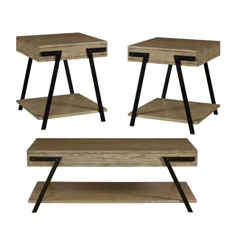 Progressive Furniture Darby 3 Pack (Cocktail & Two End Tables) in August Gray (T328-95)