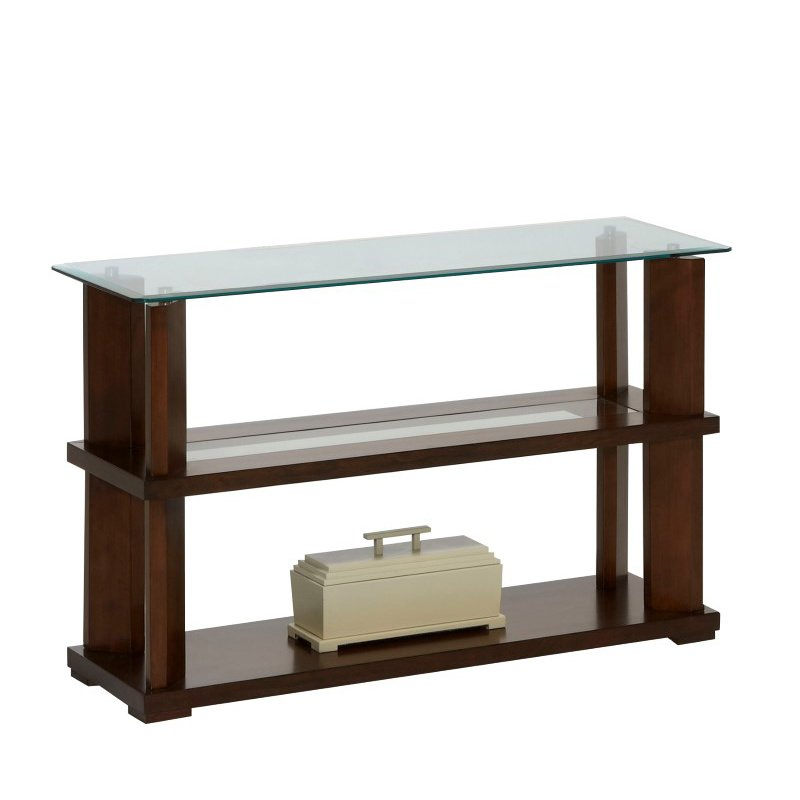 Progressive Furniture Delfino Sofa/Console Table in Burnished Cherry