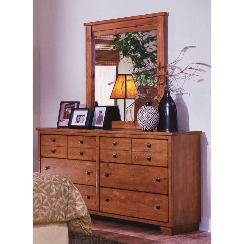 Progressive Furniture Diego Dresser and Mirror in Cinnamon Pine