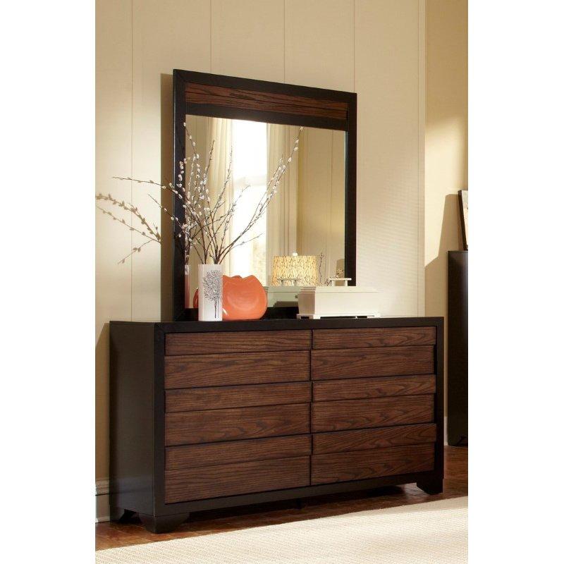 Progressive Furniture Echo Mirror in Black/Dark Oak