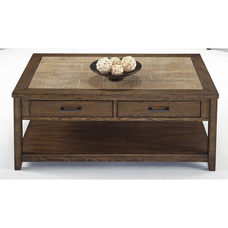Progressive Furniture Forest Brook Castered Rectangular Cocktail Table in Ash and Ceramic Tile