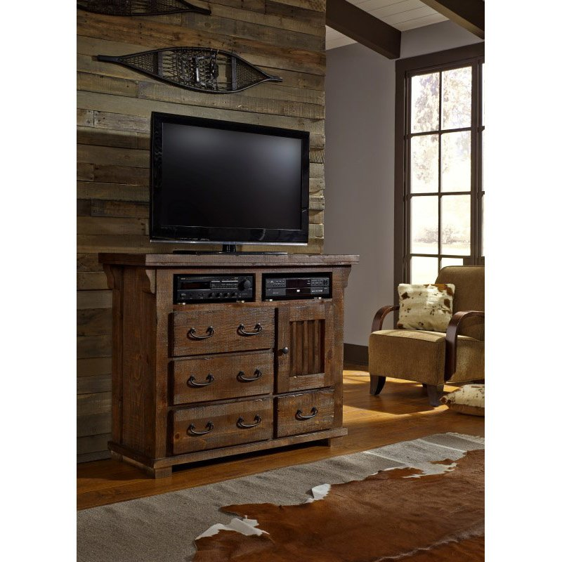 Progressive Furniture Forrester Media Chest in Tobacco (B631-46)