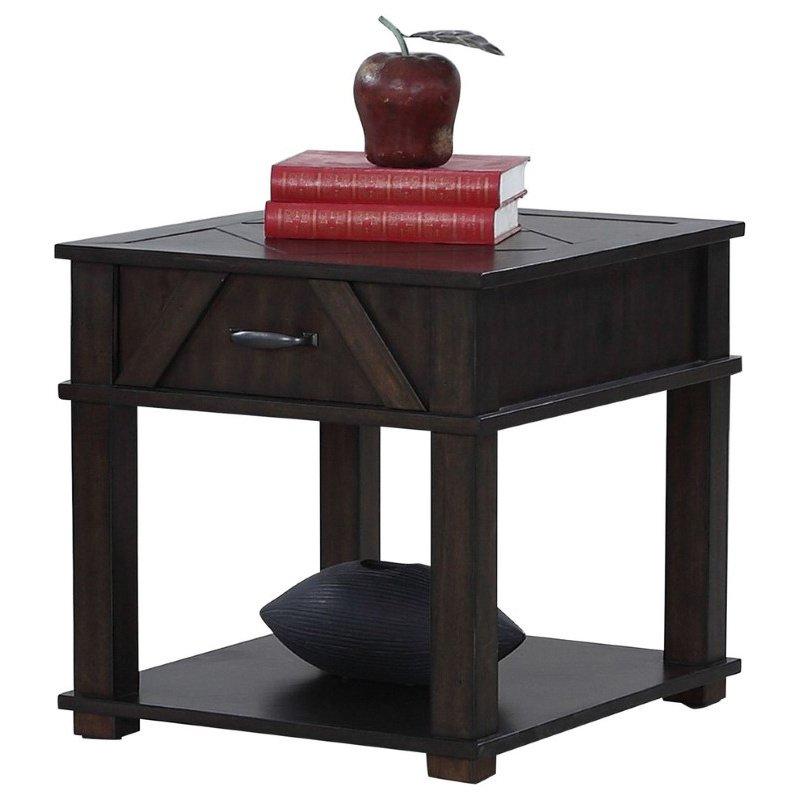 Progressive Furniture Foxcroft Rectangular End Table in Dark Pine (T437-04)