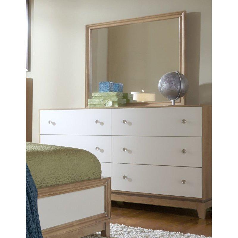 Progressive Furniture Hashtag FUN Mirror in Marshmallow and Latte