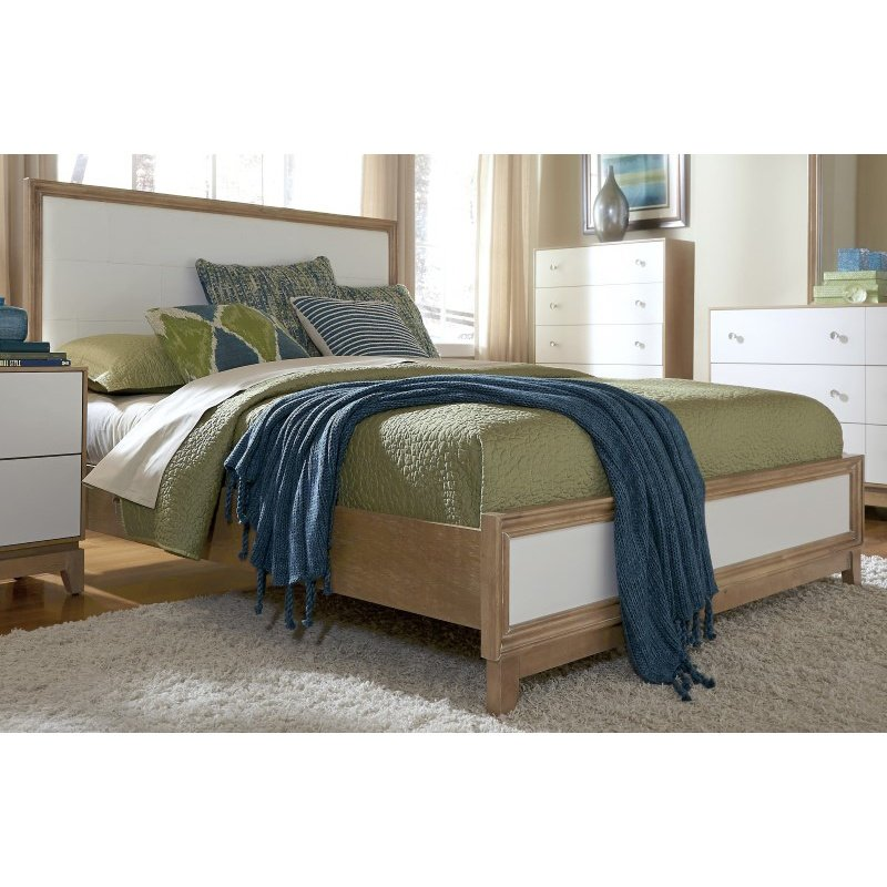 Progressive Furniture Hashtag FUN Queen Upholstered Complete Bed in Marshmallow and Latte