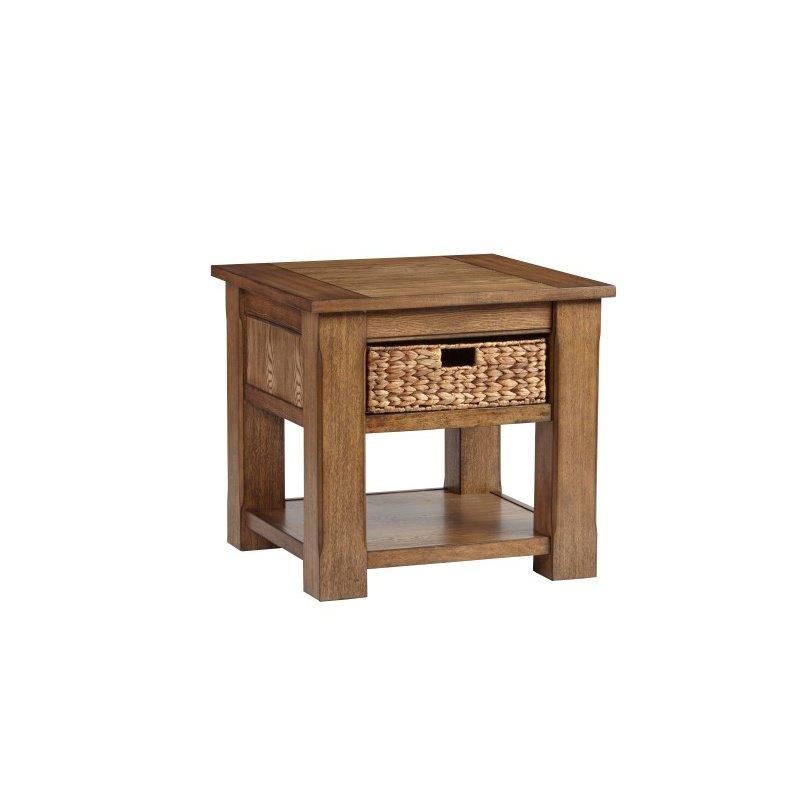 Progressive Furniture Home Scene Square Lamp Table in Rift Ash (T478-02)