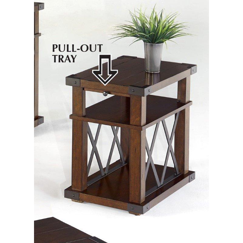 Progressive Furniture Landmark Chairside Table in Vintage Ash
