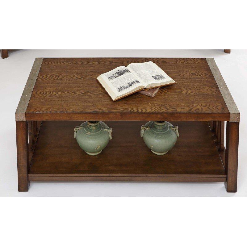 Progressive Furniture Mason Hills Rectangular Cocktail Table in Ash and Metal