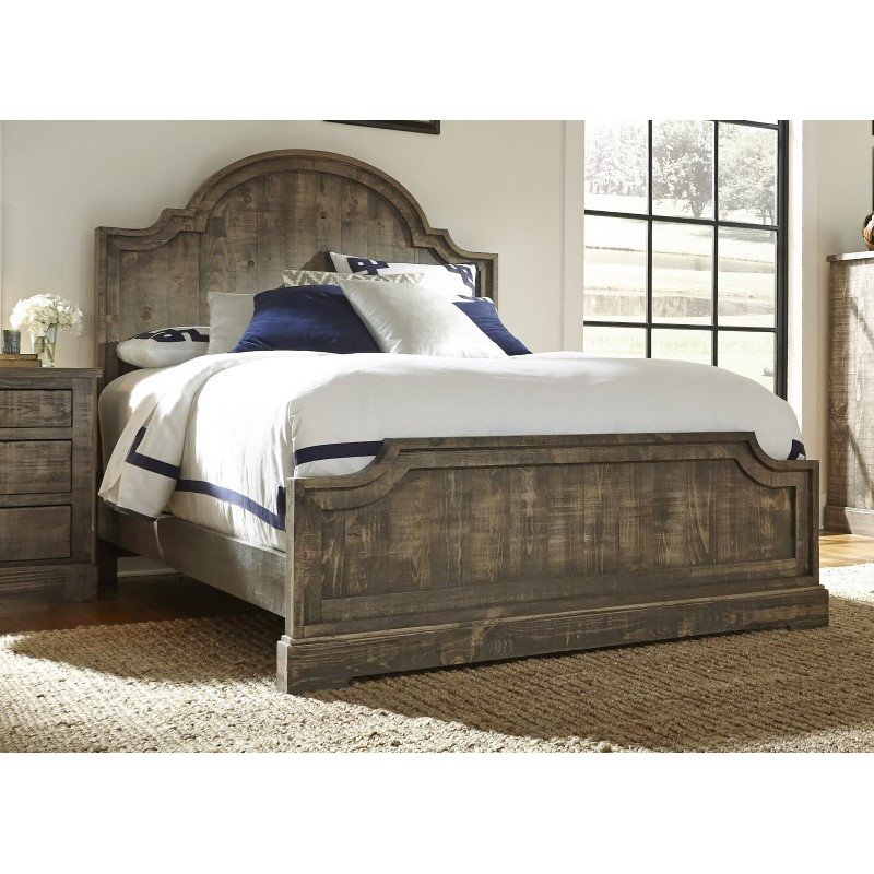 Progressive Furniture Meadow King Panel Complete Bed in Weathered Gray