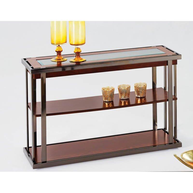 Progressive Furniture Medalist Sofa/Console Table in Black Nickel and Burl