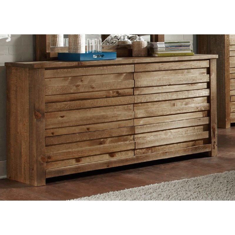 Progressive Furniture Melrose Drawer Dresser and Mirror in Driftwood