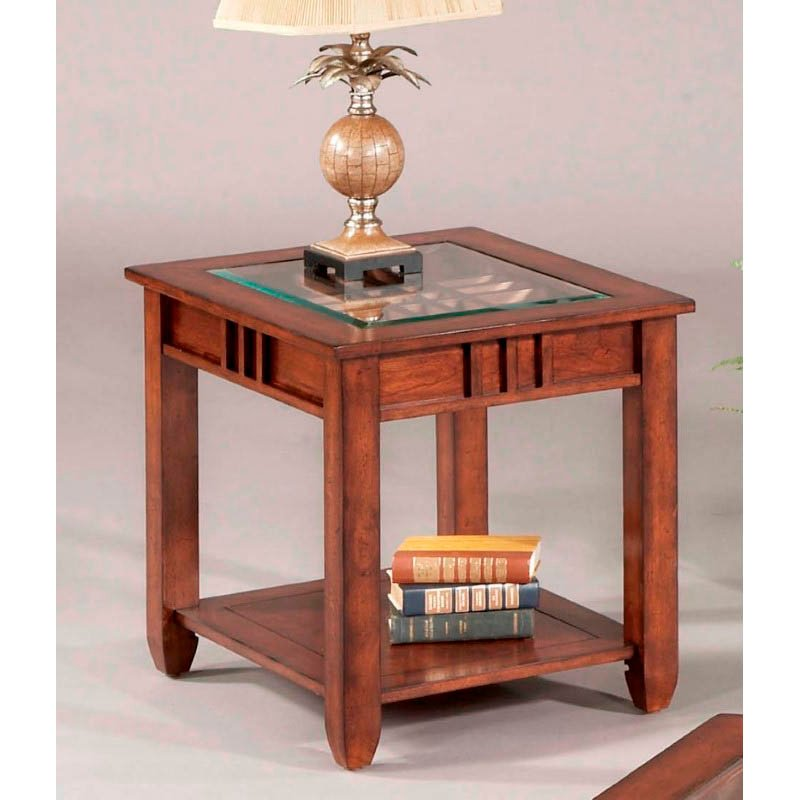 Progressive Furniture Mission Hills End Table in Brown Cherry