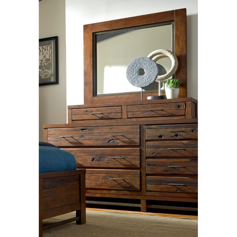 Progressive Furniture Navigator Drawer Dresser' Jewelry Box and Mirror in Repurposed Poplar