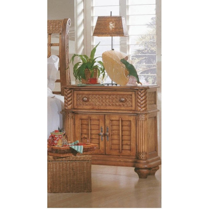 Progressive Furniture Palm Court Bedside Chest Nightstand 2 Dr in Island Pine