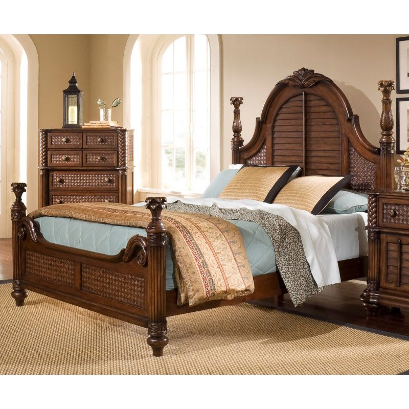Progressive Furniture Palm Court II King Poster Complete Bed in Coco Brown