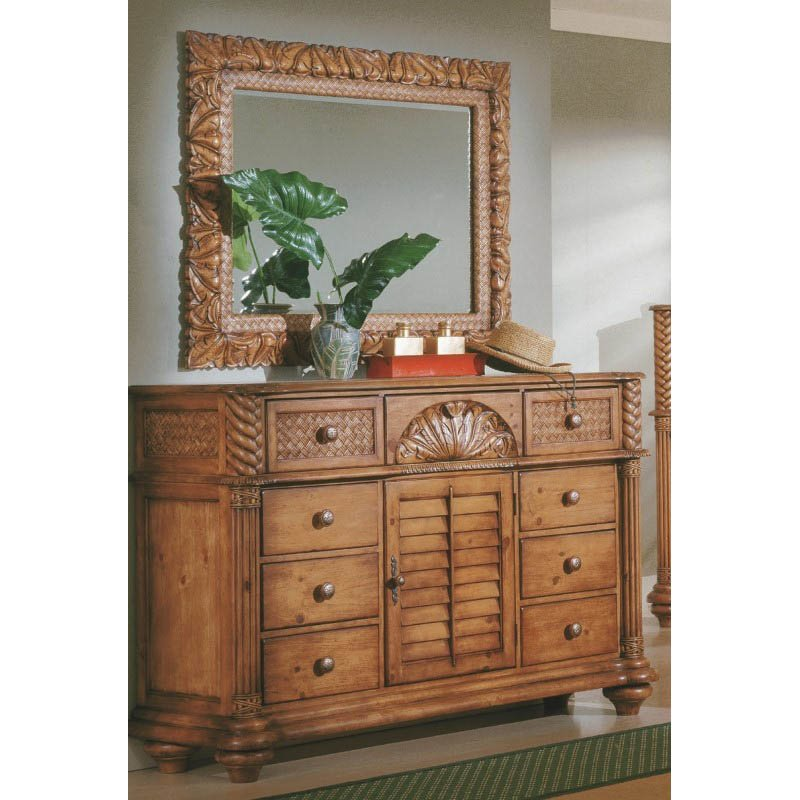 Progressive Furniture Palm Court Triple Dresser and Mirror in Island Pine