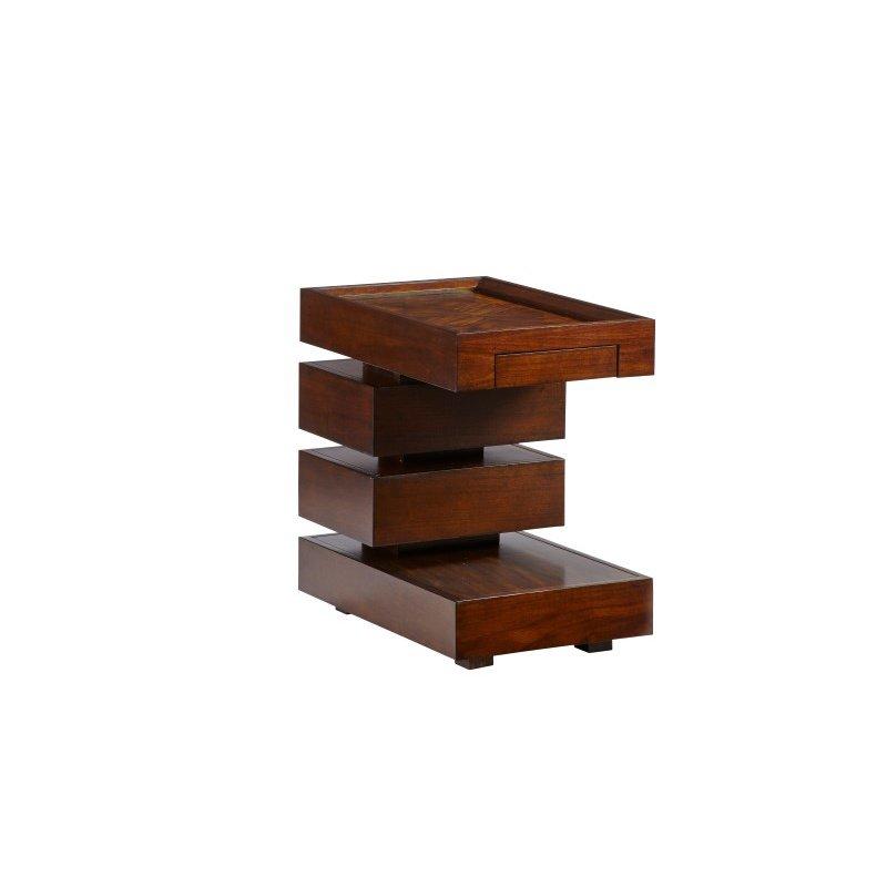 Progressive Furniture Prime Time Chairside Table in Dark Prima Vera (T503-29)