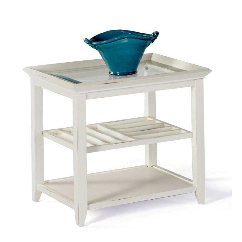 Progressive Furniture Sandpiper II Rectangular End Table in Brushed White