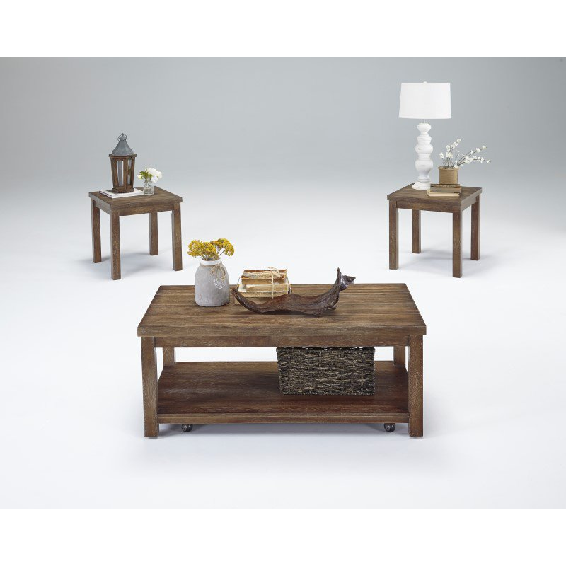 Progressive Furniture Silverton 3 Pack (Cocktail & 2 Ends) in Driftwood (T218-95)
