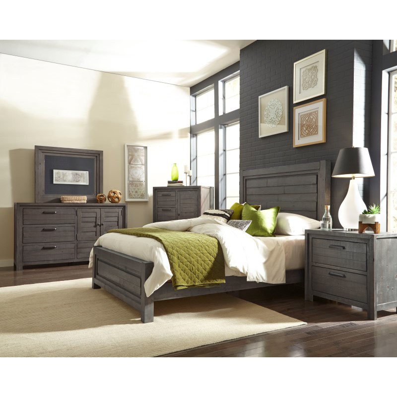 Progressive Furniture Theory Chest in Distressed Dark Gray (B685-14)