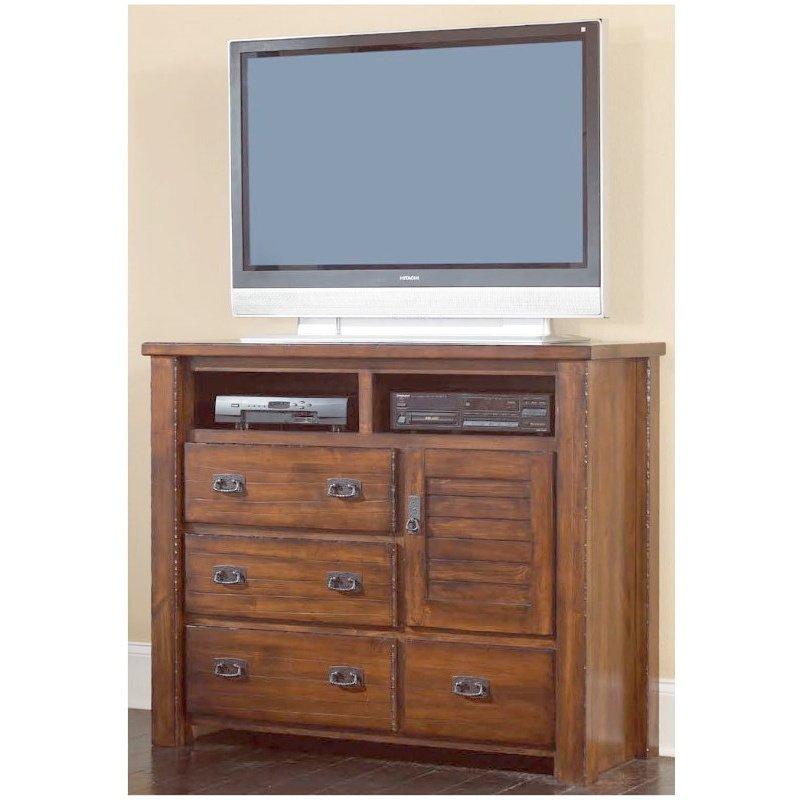 Progressive Furniture Trestlewood Media Chest in Mesquite Pine