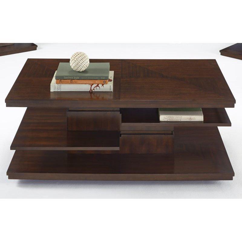 Progressive Furniture Waterfall Castered Rectangular Cocktail Table in Bright Medium Birch