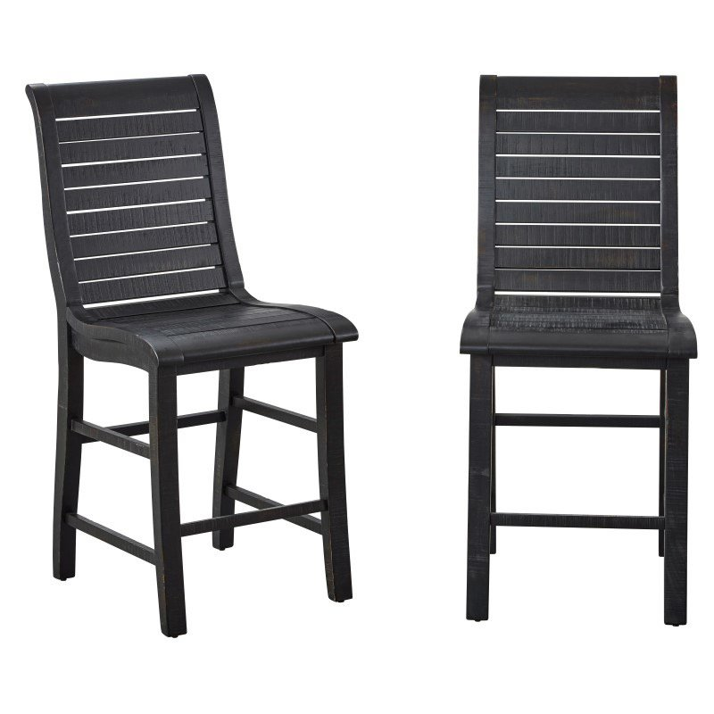 Progressive Furniture Willow Counter Chair (Set of 2) in Distressed Black (P812-63)