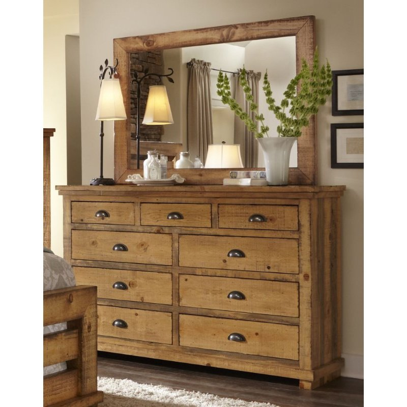 Progressive Furniture Willow Drawer Dresser and Mirror in Distressed Pine