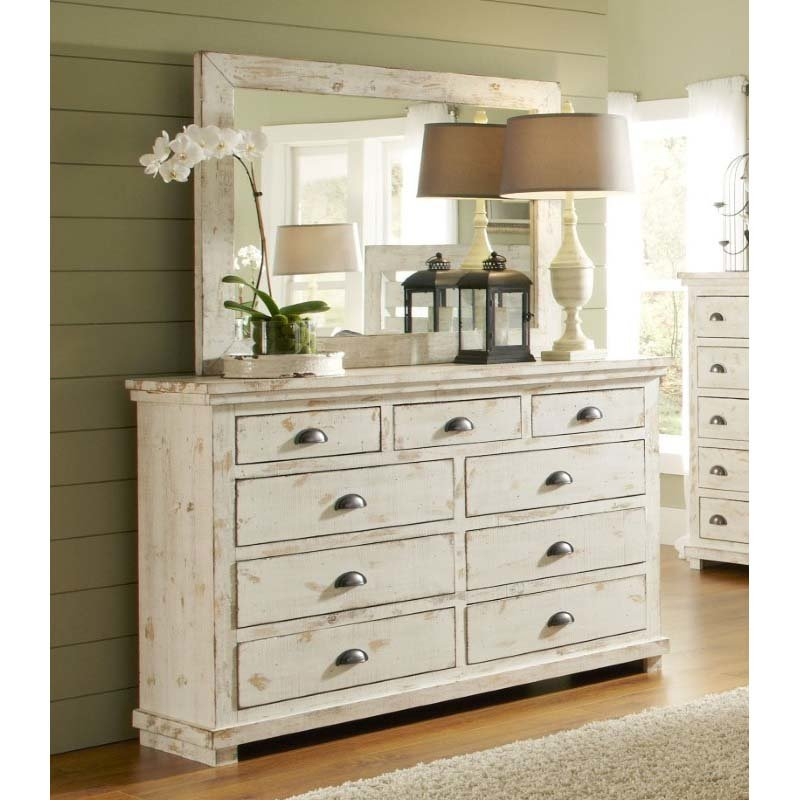 Progressive Furniture Willow Drawer Dresser and Mirror in Distressed White