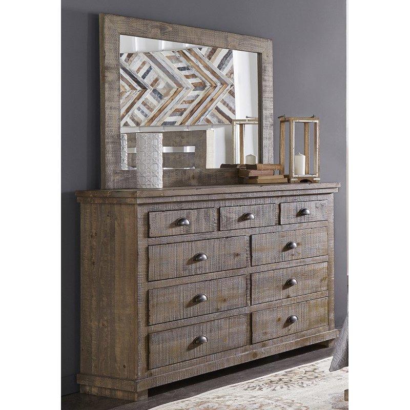 Progressive Furniture Willow Drawer Dresser & Mirror in Weathered Gray (P635-23/50)