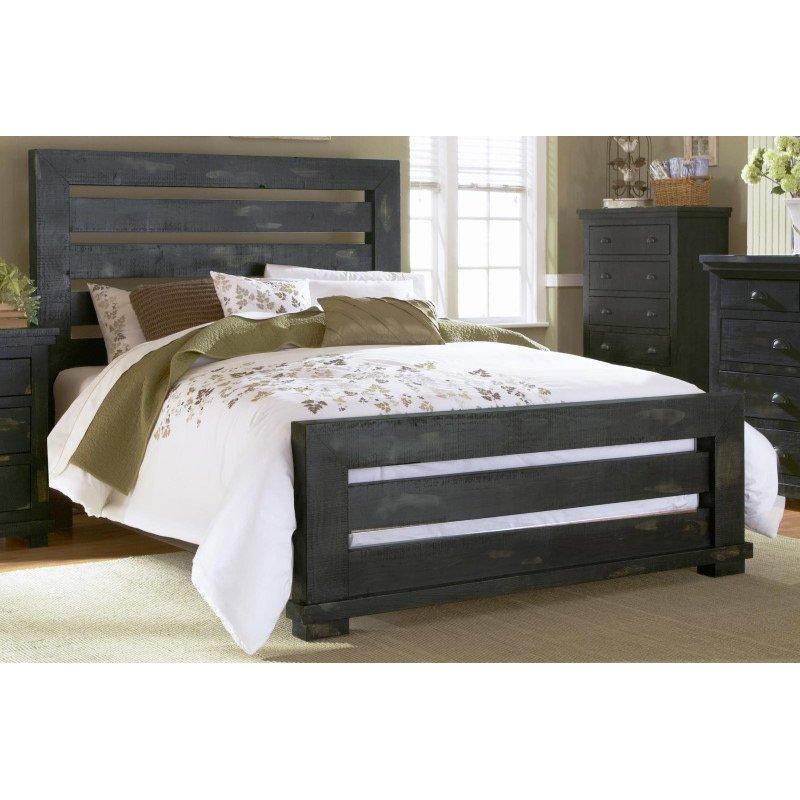 Progressive Furniture Willow King Slat Complete Bed in Distressed Black