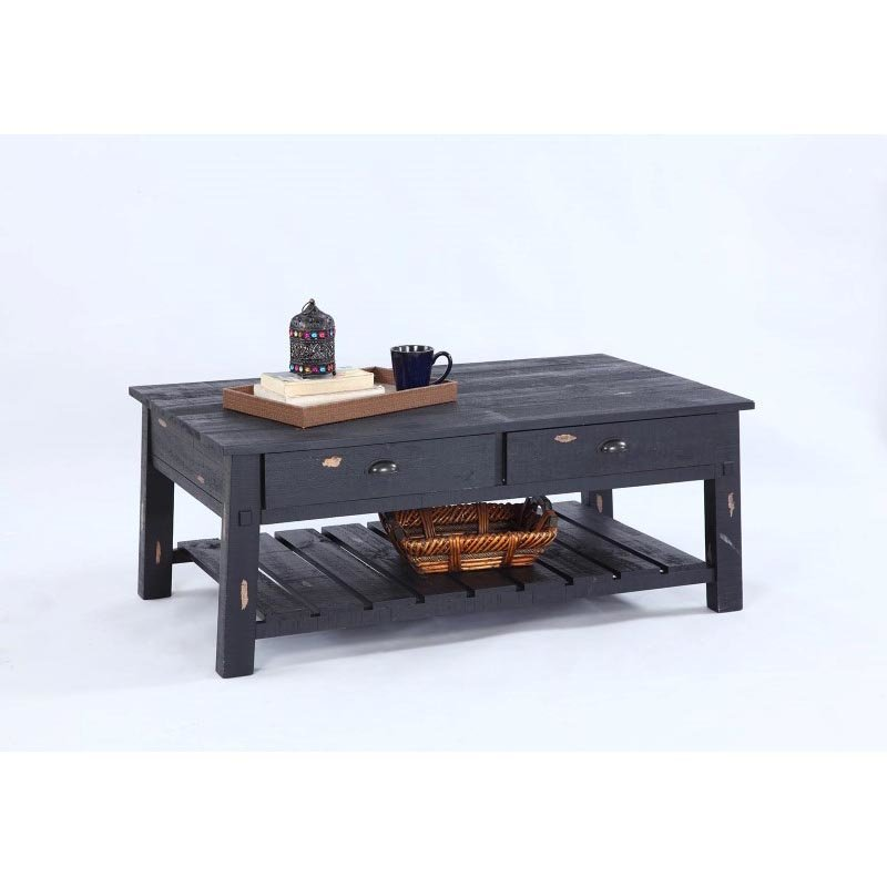 Progressive Furniture Willow T412 Rectangular Cocktail Table in Distressed Pine