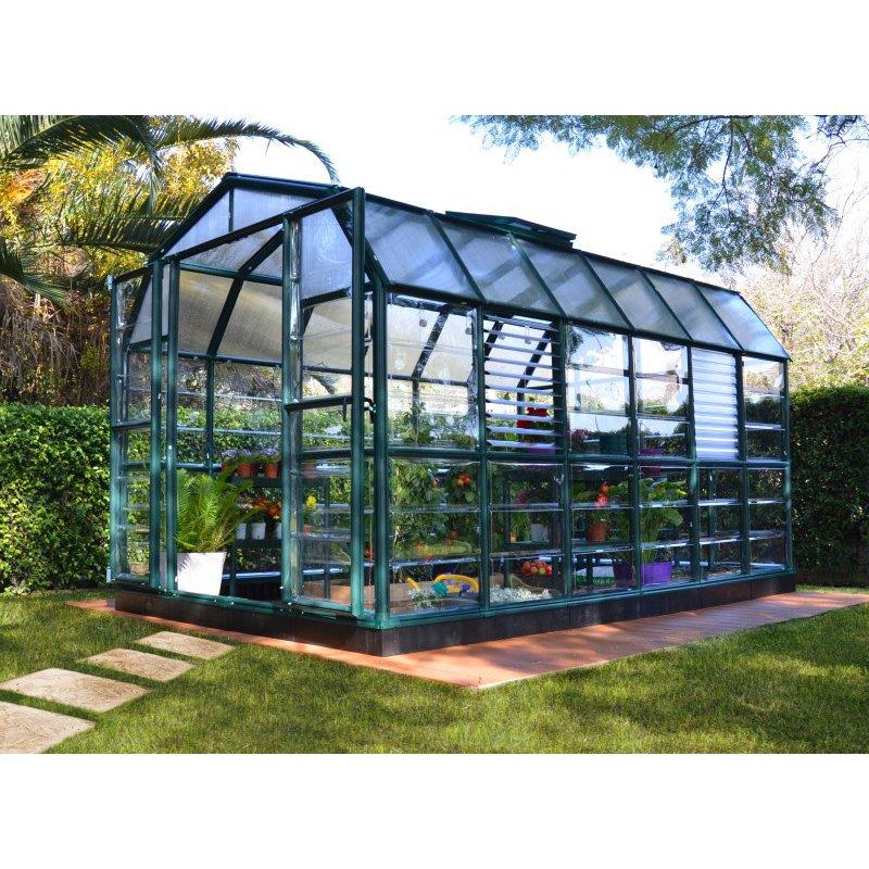 Rion Prestige 2 Clear 8' x 12' Greenhouse in Dark Green (HG7312C)