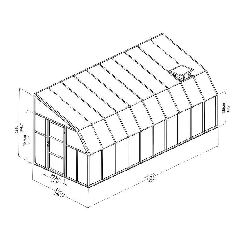 Rion Sun Room 2 - 8' x 20' Greenhouse