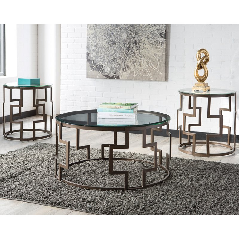 Signature Design by Ashley Frostine 3 Piece Occasional Table Set (FSD-TS3-10DB-GG)
