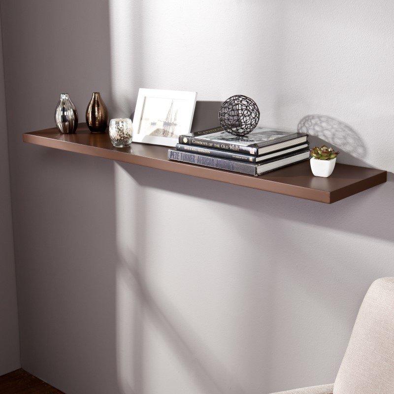 "Southern Enterprises Aspen Floating Shelf 48"" in Chocolate"