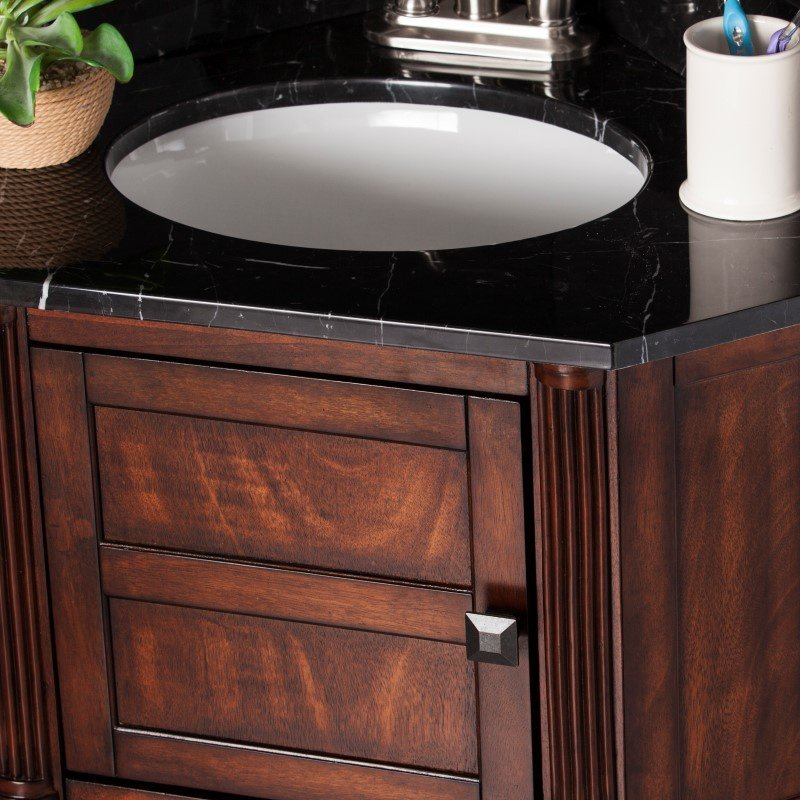 Southern Enterprises Beckingham Corner Bath Vanity Sink with Marble Top