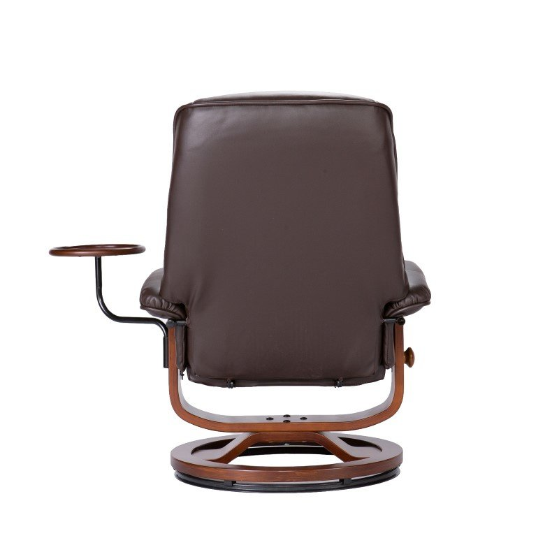 Southern Enterprises Bonded Leather Recliner and Ottoman in Coffee Brown