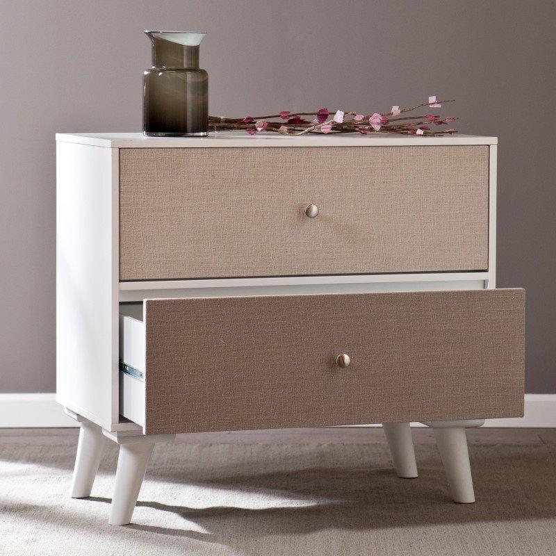 Southern Enterprises Colorblock 2-Drawer Storage Cabinet in Linen