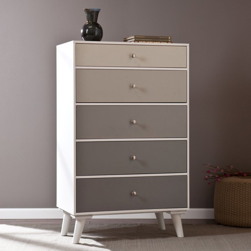 Southern Enterprises Colorblock 5-Drawer Storage Cabinet in Grayscale