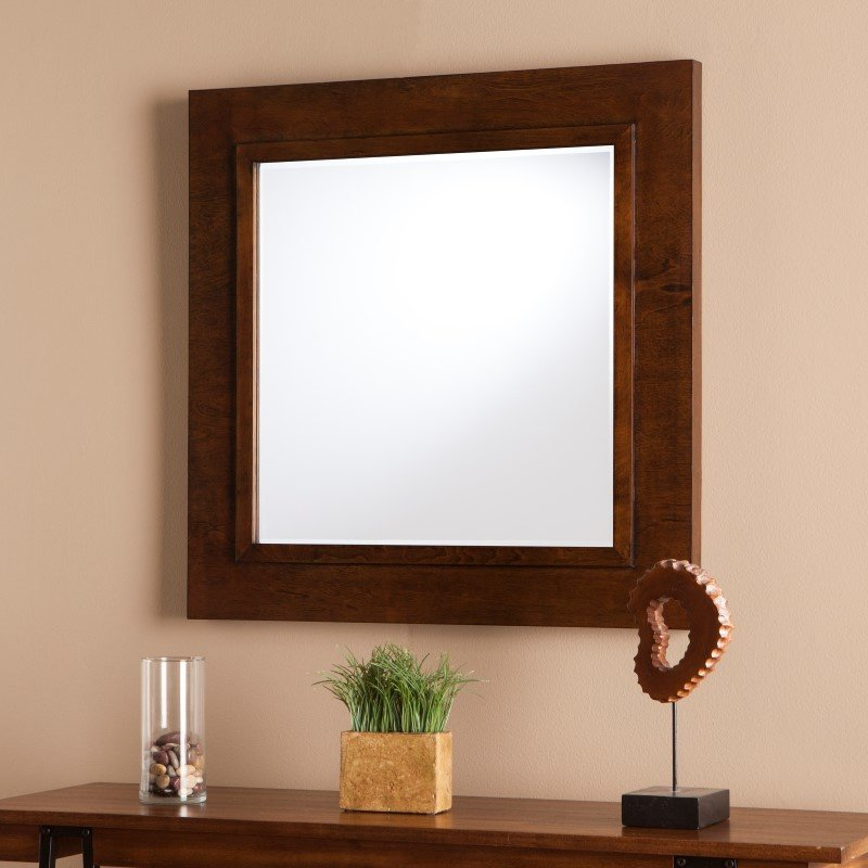 Southern Enterprises Dawson Decorative Mirror in Oak Saddle