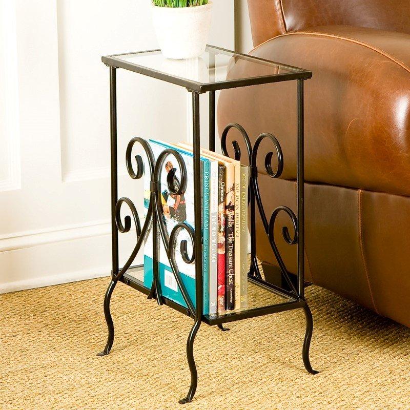 Southern Enterprises Decorative Metal Magazine Table