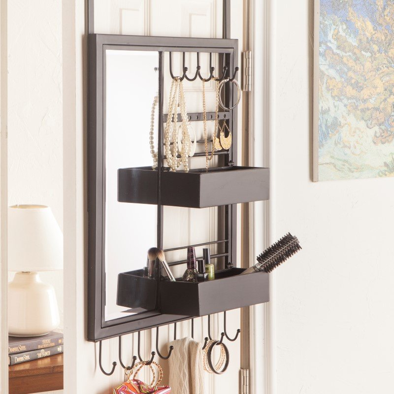 Southern Enterprises Jayla Over-the Door Jewelry Mirror/Anywhere Storage