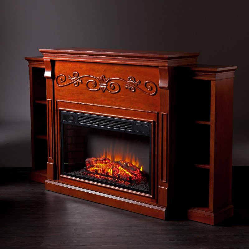 Southern Enterprises Locksley Bookcase Electric Fireplace in Classic Mahogany