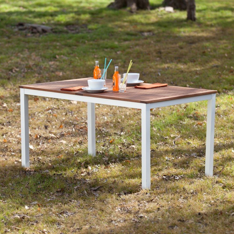 Southern Enterprises Mandalay Outdoor Rectangular Table in Soft White